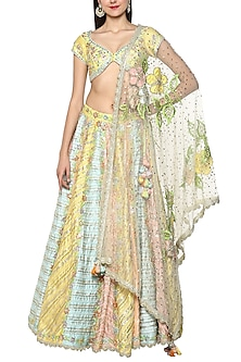 Multi Colored Handcrafted Embroidered Lehenga Set by Preeti S Kapoor