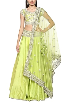 Green Handcrafted Embroidered Lehenga Set by Preeti S Kapoor