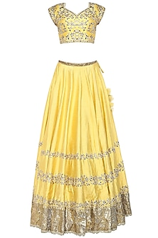 Yellow Handcrafted Embroidered Lehenga Set by Preeti S Kapoor