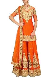 Orange and Gold Embroidered Sharara Set by Preeti S Kapoor