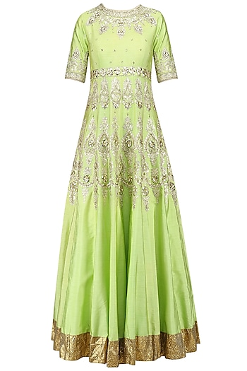 Green and Gold Embroidered Anarkali Set by Preeti S Kapoor