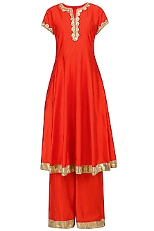 Orange and Gold Embroidered Anarkali Set by Preeti S Kapoor