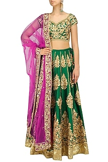 Green and Gold Embroidered Lehenga Set by Preeti S Kapoor