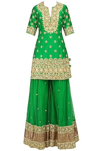 Green and Gold Embroidered Sharara Set by Preeti S Kapoor