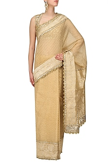 Gold Embroidered Saree with Heavy Gota Blouse by Preeti S Kapoor