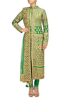 Green and Gold Embroidered Kurta Set by Preeti S Kapoor