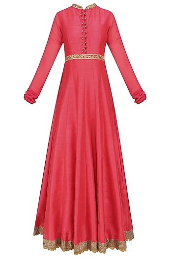 Rose Pink Embroidered Anarkali Set by Preeti S Kapoor