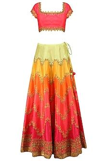 Pink Zari and Sequins Embroidered Lehenga Set by Preeti S Kapoor