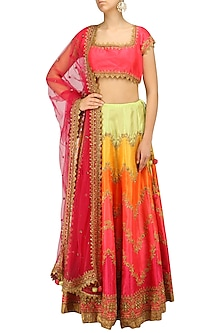 Pink Zari and Sequins Embroidered Lehenga Set by Preeti S Kapoor