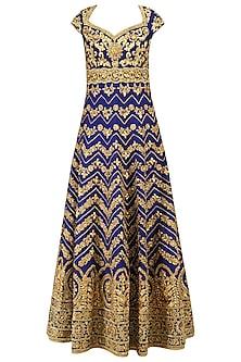 Blue Gota Patti Embroidered Anarkali Set by Preeti S Kapoor
