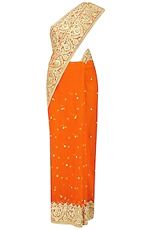 Orange Gota Patti Embroidered Saree and Blouse Set by Preeti S Kapoor