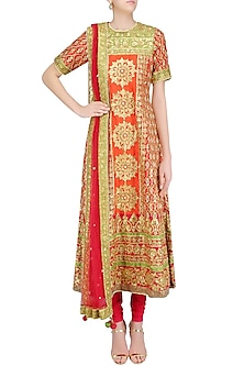 Red and Green Gota Patti Embroidered Anarkali Set by Preeti S Kapoor