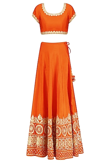 Orange and Gold Gota Patti Embroidered Lehenga Set by Preeti S Kapoor