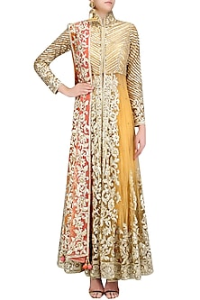 Brown Gota Embroidered Front Slit Anarkali Set by Preeti S Kapoor