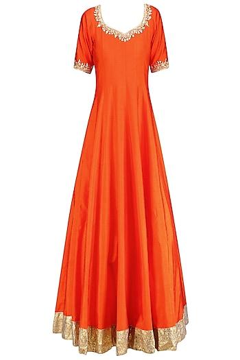 Orange Gota Patti and Sequins Embroidered Anarkali Set by Preeti S Kapoor