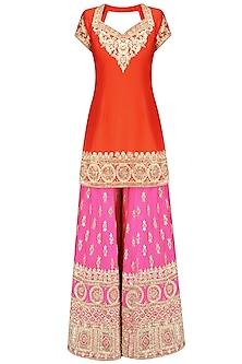 Orange Gota Patti Embroidered Kurta and Hot Pink Sharara Pants Set by Preeti S Kapoor