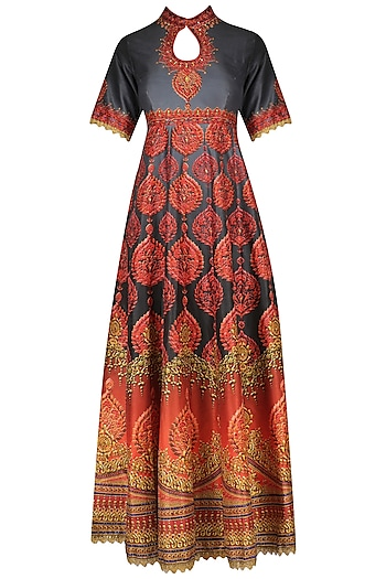Red and Grey Swarosvski Embellished Digital Print Anarkali Set by Preeti S Kapoor