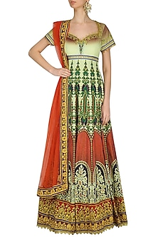Red, Off White and Green Ombre Gota Embroidered Anarkali Set by Preeti S Kapoor