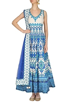 Blue and White Swarovski Embellished Anarkali Set by Preeti S Kapoor