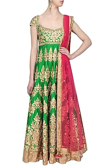Green gota patti embroidered floral motifs anarkali set by Preeti S Kapoor