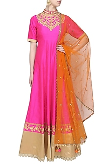 Pink gota patti embroidered anarkali set by Preeti S Kapoor