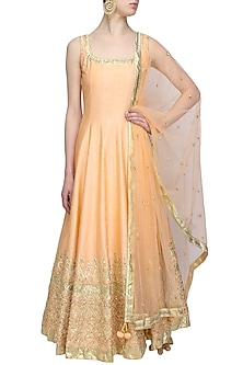 Peach gota patti applique work anarkali set by Preeti S Kapoor