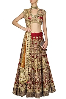 Red and Gold Embroidered Lehenga Set by Preeti S Kapoor