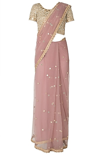 Lilac Mirror and Pearls Embellished Saree with Blouse by Priti Sahni