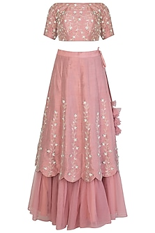 Nude Pink Embroidered Lehenga Set by Priti Sahni