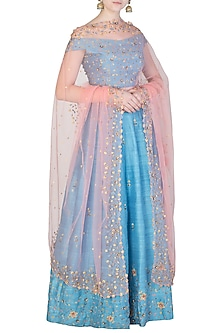 Powder Blue and Blush Pink Embroidered Lehenga Set by Priti Sahni