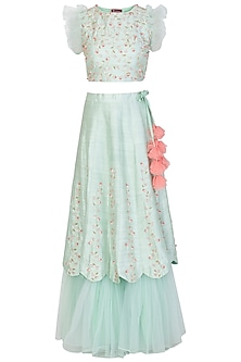Mint Green and Peach Embroidered Lehenga Set by Priti Sahni