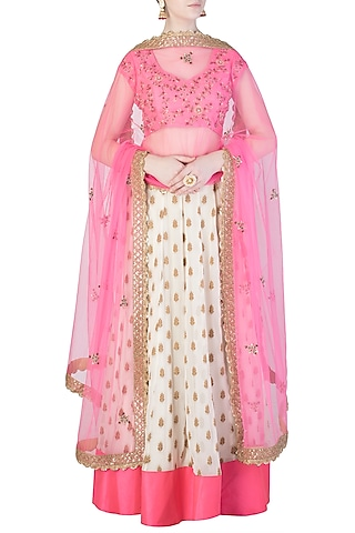 Candy Pink and Off White Embroidered Lehenga Set by Priti Sahni