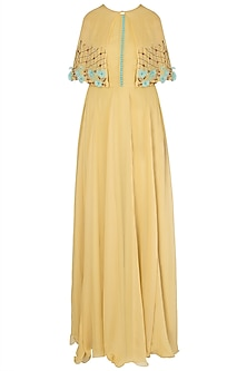 Yellow Anarkali with Cape and Leggings by Priti Sahni
