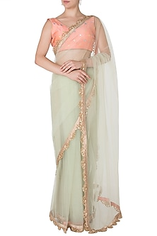 Dust Green and Peach Embellished Saree with Blouse by Priti Sahni