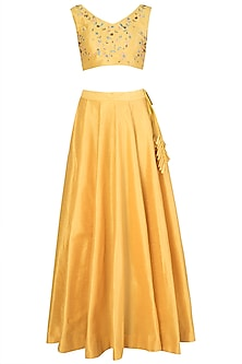 Mustard and Yellow Embroidered Lehenga Set by Priti Sahni