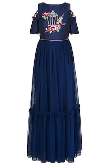 Navy Blue Embroidered Anarkali Gown by Priti Sahni