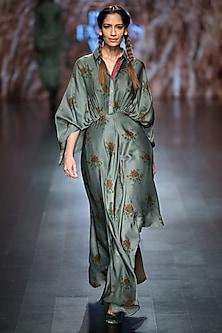Green Printed Asymmetric Kimono Dress by Pinnacle by Shruti Sancheti