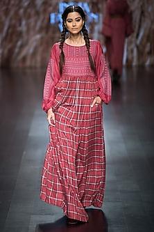 Red Checkered Printed Maxi Dress by Pinnacle by Shruti Sancheti