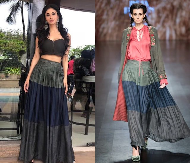 Multicolor Blocked Pleated Maxi Skirt by Pinnacle by Shruti Sancheti