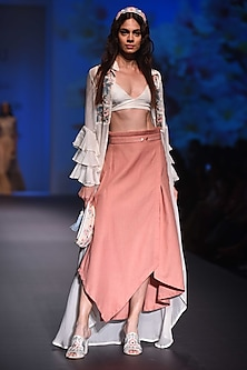 Blush Pink Asymmetric Skirt by Pinnacle By Shruti Sancheti