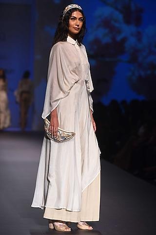 Ecru Kimono Draped Dress with Flared Pants by Pinnacle By Shruti Sancheti