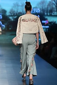 Light beige embroidered crop jacket with top by Pinnacle By Shruti Sancheti