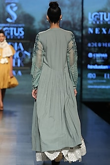 Azure blue embroidered dress by Pinnacle By Shruti Sancheti