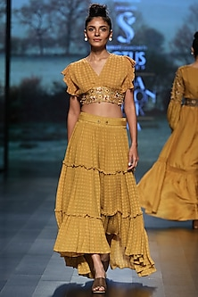 Mustard embroidered crop top with skirt by Pinnacle By Shruti Sancheti