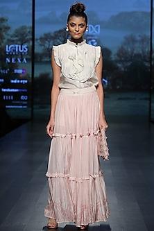 Pastel pink printed skirt by Pinnacle By Shruti Sancheti