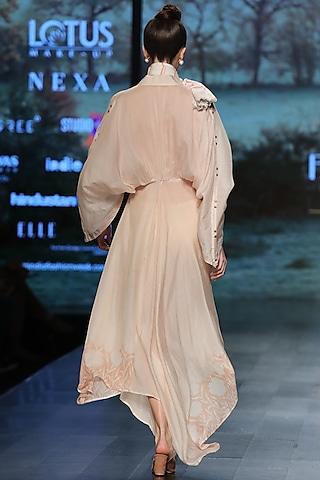 Pastel sand brown kimono dress by Pinnacle By Shruti Sancheti