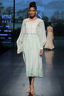 Mint green embroidered maxi dress by Pinnacle By Shruti Sancheti