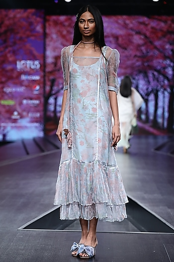 Pigeon Blue Printed Dress With Knitted Slip by Pinnacle By Shruti Sancheti