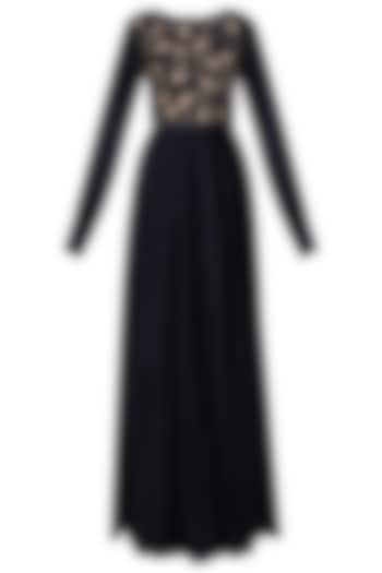 Navy Blue Floral Embroidered Maxi Dress by Pinnacle By Shruti Sancheti