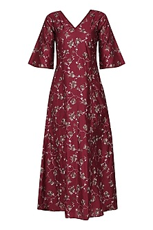 Cherry Cracker Print V Neck Dress by Pinnacle By Shruti Sancheti